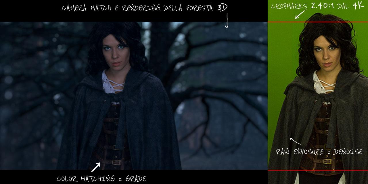 Immagine prima / dopo di attrice su green screen e scenografia virtuale
