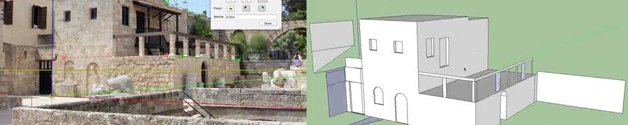 immagine 2D e risultante modello base 3D
