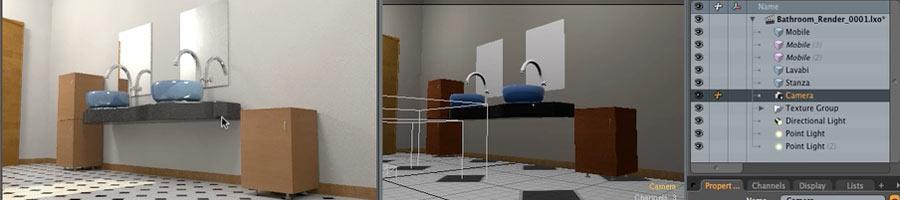 Bagno modellato e texturizzato nelle lezioni di 3D architetturale del corso di Modo